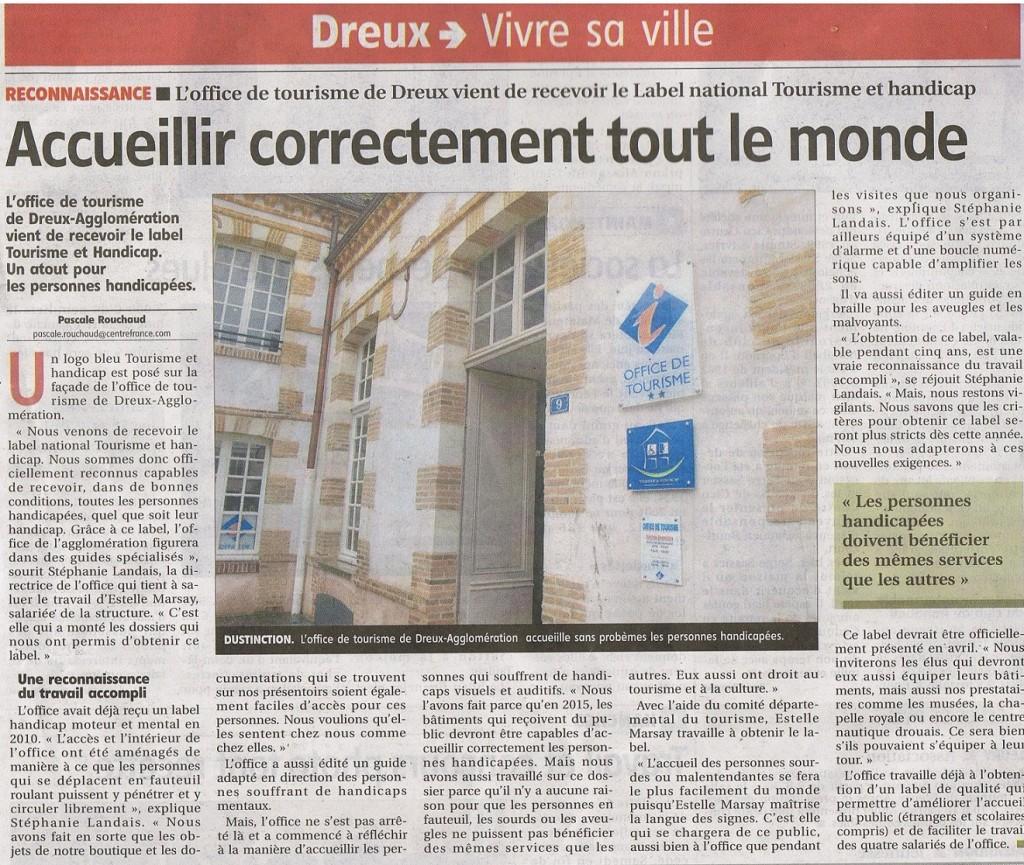 L 39 office de tourisme de dreux re oit le label tourisme et handicap d l gation apf d 39 eure et - Office de tourisme eure et loir ...
