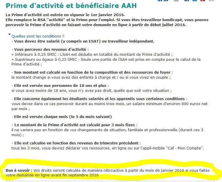 Prime D Activite Et Beneficiaire De L Aah Demandez Le Calcul De La
